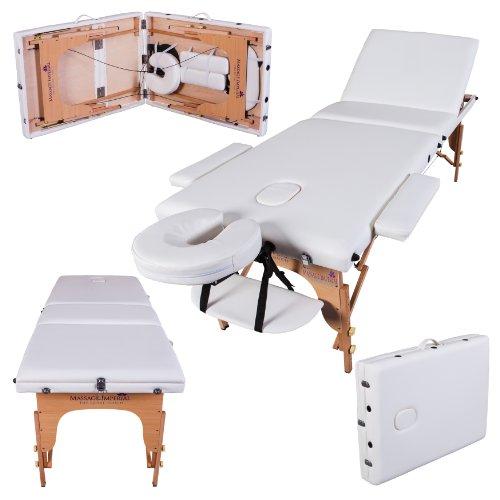Massage Imperial - tragbare Profi-Massageliege Kensington - leicht 14 Kg - 3 Zonen - Elfenbeinweiß
