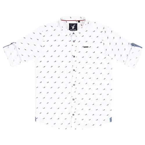 Urban Scottish Boy's Cotton White 3D Glasses Printed Shirt