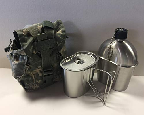G.A.K G.I. Style Stainless Steel 1qt. Canteen with Cup and Vented LID with Surplus G.I. Issue Canteen Cover. (ACU MOLLE II)