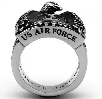 ISADY Acier Bague Homme Email Noir Fly-Fight-Win//» Chevali/ère US Air Force John /«/Aim High