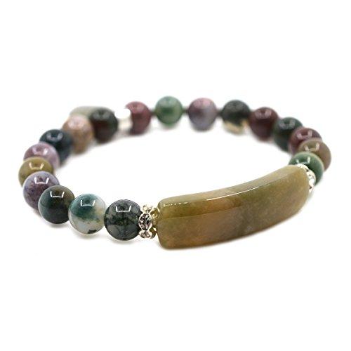 (Natural Multicolor Indian Agate Gem Semi Precious Gemstone Love Heart Charm Stretch Bracelet )