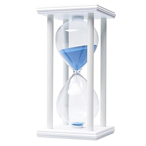 60 Minutes Hourglass, iPhyhe One Hour Sand Timer with White Wooden Frame (Blue Sand) (Hour Glass 1)