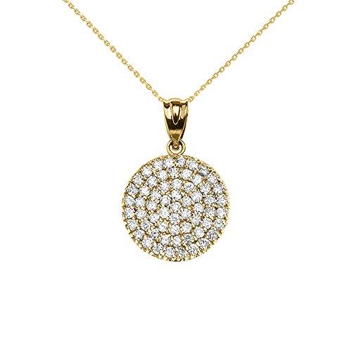 Collier Femme Pendentif 14 ct Or Jaune 0.5 Carat Micro Pave Diamant Cercle (21 mm) (Livré avec une 45cm Chaîne)