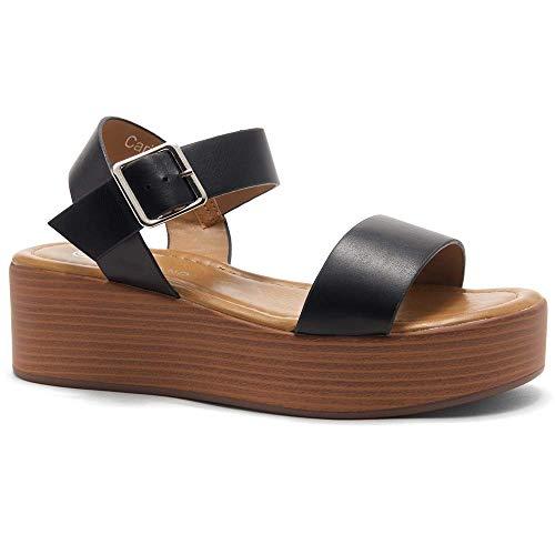- Herstyle Carita Women's Open Toe Ankle Strap Platform Wedge Sandals Black/Wood 8.5