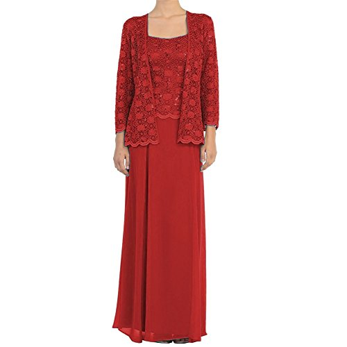 - H.S.D Mother of The Bride Dress Chiffon Long Formal Gowns with Jacket Red