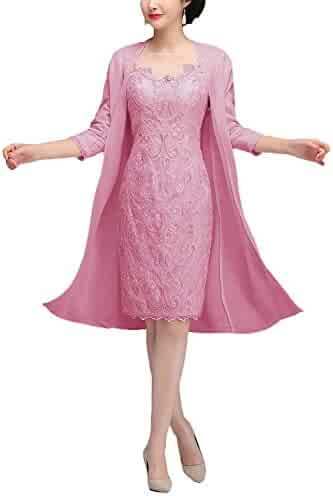 a77fd13bc70f70 Newdeve Lace Mother Of The Bride Dresses With Jacket Tea Length Formal Gowns