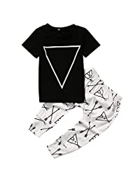 Short Sleeve Geometry Pattern T-shirt and Arrow Print Pants 2pcs Outfit for Baby Boys