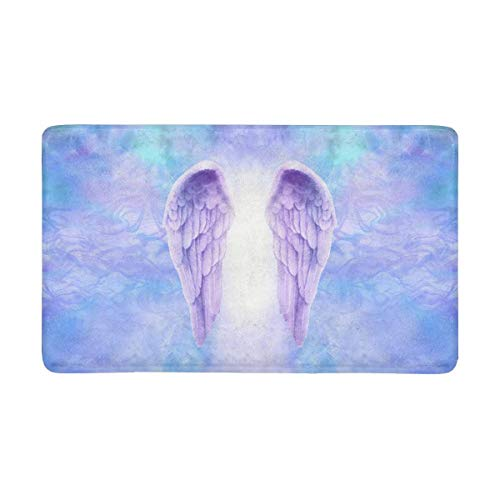 INTERESTPRINT Beautiful Pair of Lilac Angel Wings Doormat Anti-Slip Entrance Mat Floor Rug Indoor Door Mats Home Decor, Rubber Backing X-Large 30 X 18 Inches