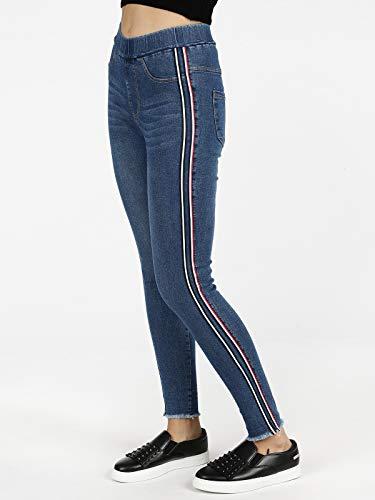 Alta A Solada Jeans Sfrangiati Vita Jeggings Sotto q75Wr5tF