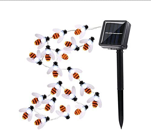 EONSMN Honeybee String Lights, Waterproof Solar Powered 30 LED Bumble Bee Fairy Outdoor Decorative Lights for Garden Patio Fence Summer White