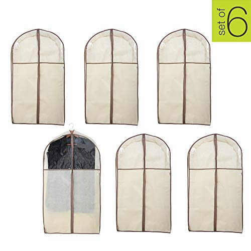 Smart Design Garment Bag w/Clear Window - for Suits. Dresses, Gowns Storage Organization (Gusseted 42