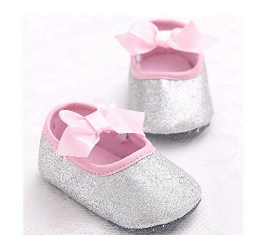 Recién nacido bebé antideslizante suave parte inferior Prewalker zapatos Glitter parte primera–Zapatos de Senderismo plateado plata Talla:12-18 meses plata