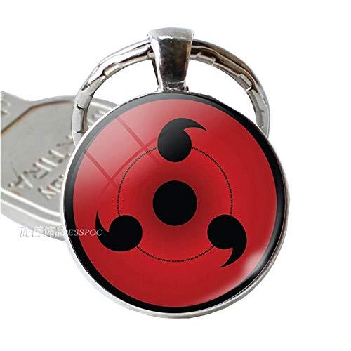 (Key Chains - Anime Naruto Keychain Uchiha Clan Badge Sasuke Itachi Kakashi Cosplay Sharingan Eyes Pendant Key Chain Men Keyring - by YPT - 1)