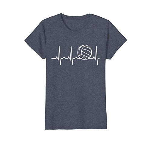Womens Volleyball Heartbeat Shirt - I Love Volleyball T-Shirt Medium Heather Blue (Mom Volleyball Shirt)