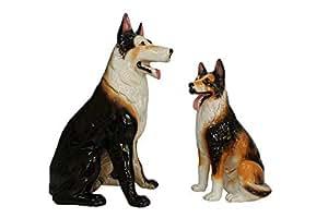 Spring Rose Dog Statues for Garden Decor