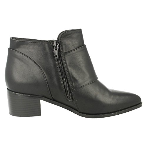 Buckle Ankle Black F50385 Detail Heel Boots On Ladies Mid Spot 4Eqw7qYz