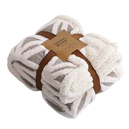 """Two Layer Blanket Fleece - Powereva Plush Throw Blanket –Super-Soft Shu Velveteen/Sherpa Throw Blanket for Bed/Couch/Sofa & Decorative -Ivory/Gray 82"""" X 62"""" (Two Layer Construction)"""