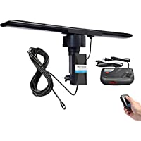 Amplified HDTV Outdoor Antenna 150 Miles Long Range and 360 Degree Reception for UHF/VHF/Hi-V ,Infrared Remote Control, Detachable Amplifier Signal Booster,38ft coax cable-New 2018 Version