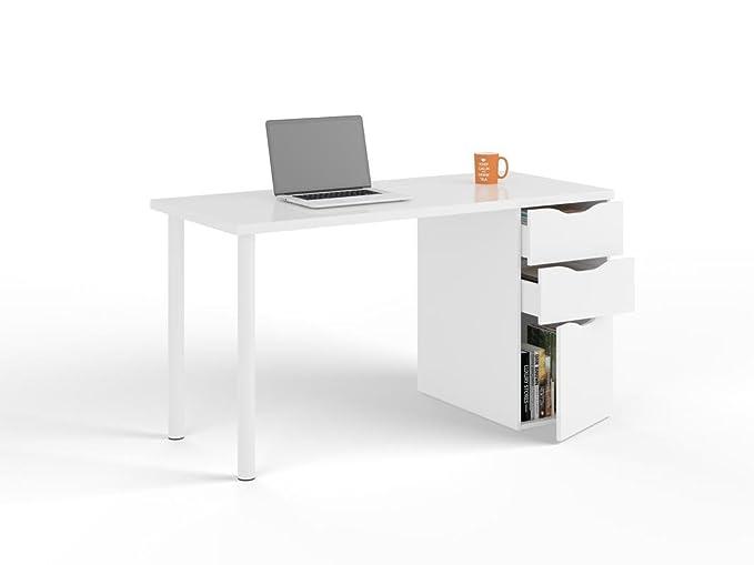 SERMAHOME- Mesa Escritorio con 3 cajones Reversible. Color Blanco ...