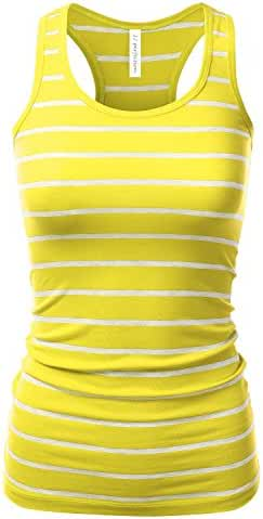 JJ Perfection Women's Casual Essential Striped & Solid Racerback Tank Top