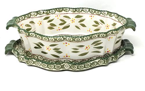 - Temp-tations 3 Qt Oval Baker with Stoneware Tray(Lid-It) & Plastic Cover (Old World Green)