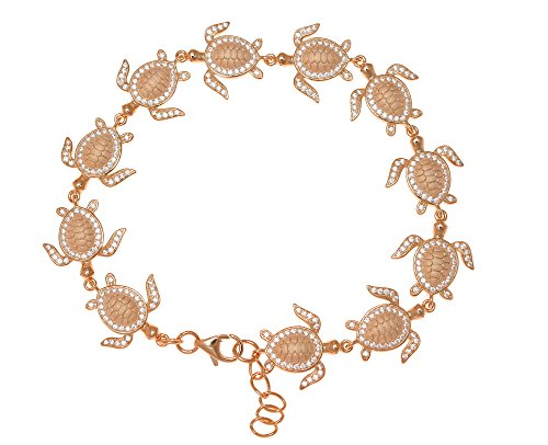 925 sterling silver pink rose gold plated solid Hawaiian sea turtle link bracelet cz 7.5'' by Arthur's Jewelry