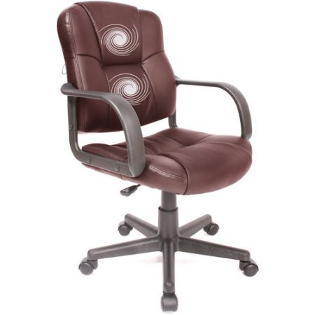 RelaxZen 2-Motor Medium Back Leather Office,Gaming Massage Chair Brown