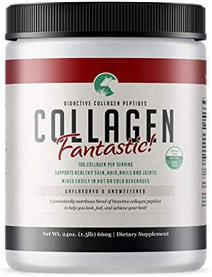 Collagen Fantastic! 24 oz - Bioactive Type I and III New Zealand Grass Fed Collagen Peptides, Vital for Healthy Skin, Hair & Nails; Supports Joint & Bone Health - Unflavored - 60 Servings - 1.5lbs.