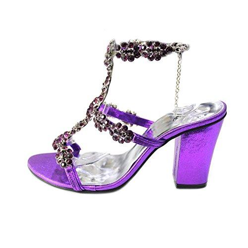 4 Royaume Pierre Walk Dames De Chaussures Mode Femmes Wear Sandale De Uni Talon Taille Bal Bloc W W Soirée Mariée Parti 10 Swarovski Violet WINGL De De Original SO5wqwd
