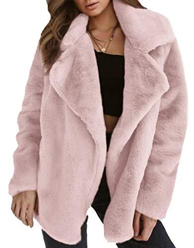 security Women Long Sleeve Winter Warm Fox Faux Fur Coat Jacket Overcoat Outwear Pink
