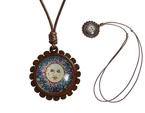 YunShop Tie Dye Hippie Hippie Custom Design Pure Hand Craft Retro Folk Costume Accessories Wooden Pendant Necklace]()