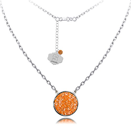 SYRACUSE CRYSTAL DISC PENDANT 18'' STERLING SILVER NECKLACE-SYRACUSE ORANGE NECKLACE by Midas Chain