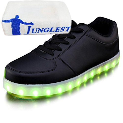 (Present:small towel)JUNGLEST® Unisex Mens Womens USB Charging LED Luminous Casual Flat Sneaker Shoes Universal Black