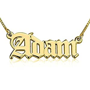 """925 Sterling Silver Personalized Nameplate Old English Necklace Pendant Custom Made with Any Names 14""""-22"""" (Gold)"""