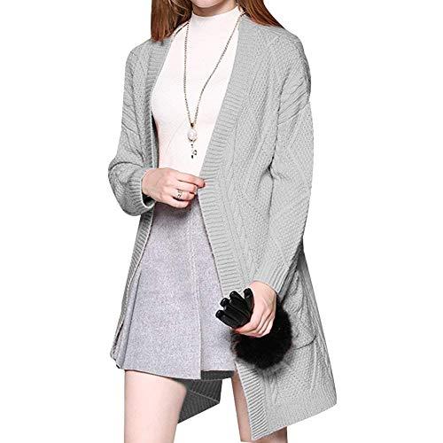Pullover Manica Donna Giubotto Dei Outerwear Pantaloni Cappotto Grau Monocromo Moda Comodo Tasche Giovane Lunga Di Maglieria Due A Maglia Lunga Moda Elegante g5XqA5