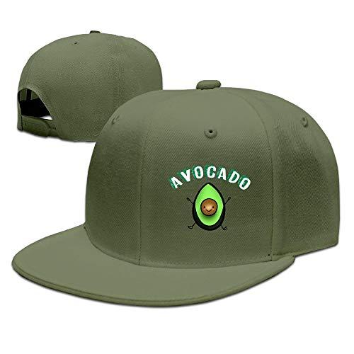 Buecoutes Avocado Emoji Flat Visor Baseball Cap, Designed Snapback Hat ForestGreen