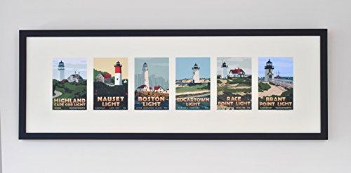Massachusetts Lighthouse Series Framed (12x36 Lighthouse Travel Poster, Wall Decor Art) Massachusetts Lighthouse