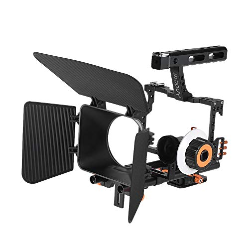 Matte Box System Kit - Andoer C500 Aluminum Alloy Camera Video Cage Rig Kit Film Making System with Matte Box + Follow Focus + Handle + 15mm Rod for Panasonic GH4 for Sony A7S/A7/A7R/A7RII/A7SII ILDC Mirrorless Camera
