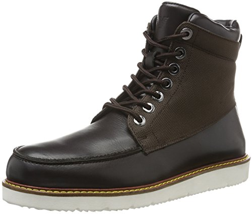 ARMANI JEANS Mens Light Weight Leather and Canvas Combat Boot Brown After Dark