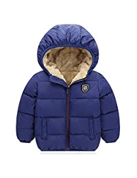 Baby Girls Boys' Fleece Jackets with Hooded Kids Thicken Warm Lined Coat Outer Clothing Autumn Winter Down Jacket