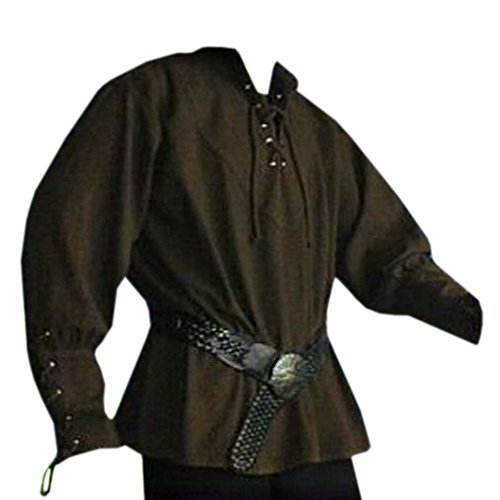 Karlywindow Men's Medieval Lace Up Pirate Mercenary Scottish Wide Cuff Shirt (Winter Larp Costumes)
