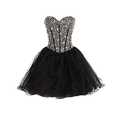 GRACE KARIN Strapless Short Prom Dresses For Women Black Size 8 CL3520-2