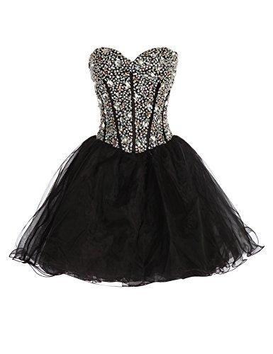 [Sweetheart Bridesmaid Dresses for Women Black CL3520-2 Size 6] (Womens Black Sequin Short Dress)
