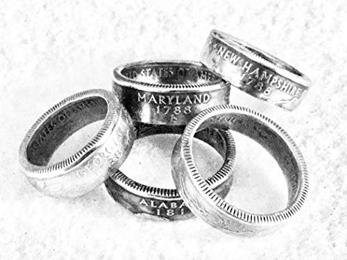 Coins, Quater Coin Ring s,State Quarter Coin Ring,Coin Rings,US Quarters, Ring Bands (Quarter Rings)