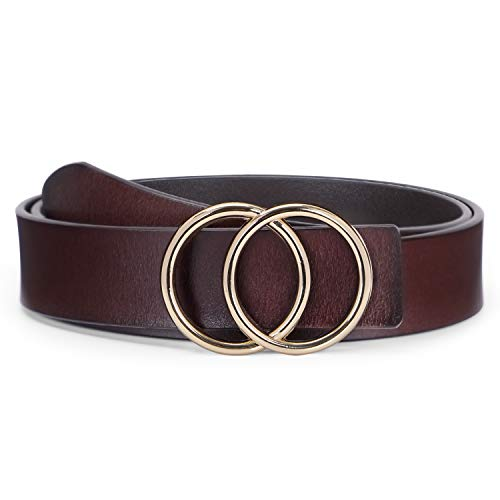(O ring Golden Buckle Fashion Women Leather Belts for Pants Jeans, Plus Size Waist Ladies Designer Belts By WERFORU)