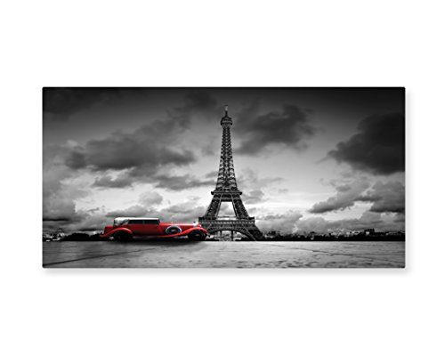 Ambesonne Eiffel Tower Wall Art, Artistic Image of Eiffel Tower Paris France Vintage Car Street Dark Clouds, Gloss Aluminium Modern Metal Artwork for Wall Decor, 23.5 W X 11.6 L (Paris Themed Party Costume Ideas)