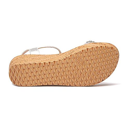 Sandalias Zapatos cn34 Inferior Verano Alto 4 Plataforma Grueso uk3 color Opcional Flores Tamaño con Feifei 8cm Impermeable Oro Eu35 Oro Tela Mujer 2cm Plata 6 Material De fFfwqr