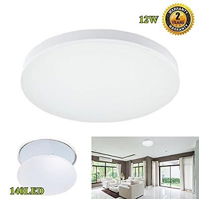 LED Flush Mount Ceiling Light,S&G Professional 100W Incandescent Bulbs Equivalent Slimline Light Fixtures for Bathroom, Kitchen, Hallway (5000K, 12W)