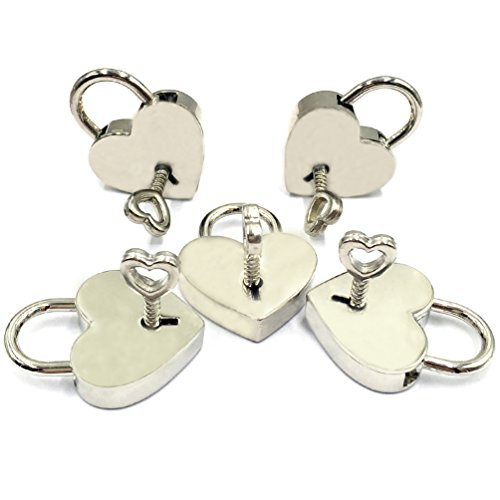 LOUHUA 5 Sets Silver Mini Heart Shaped Padlock Bulk Lock with Key for Jewelry Storage Box Diary Book DIY Craft