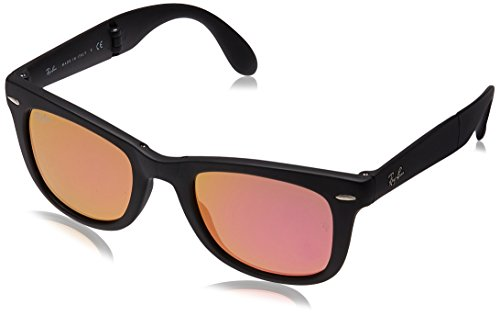 Ray-Ban FOLDING WAYFARER - MATTE BLACK Frame GREEN MIRROR FUXIA Lenses 50mm - 601s Rb4105